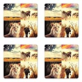 Lunarable Safari Coaster Set of Four, Wild Life African Safari Collage with Zebra Elephant Tiger Savanna Animals Adventure, Square Hardboard Gloss Coasters for Drinks, Multicolor
