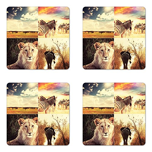 Lunarable Safari Coaster Set of Four, Wild Life African Safari Collage with Zebra Elephant Tiger Savanna Animals Adventure, Square Hardboard Gloss Coasters for Drinks, Multicolor by Lunarable