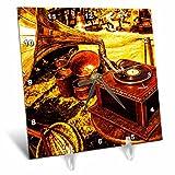 3dRose Alexis Photography - Objects - Vintage gramophone - Golden Age Technologies. Stylized photo - 6x6 Desk Clock (dc_270816_1)