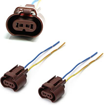iJDMTOY (2) OEM 9006 HB4 Adapters Wiring Harness Sockets w/ 4-Inch on pigtail harness, pigtail socket, pigtail fuses,