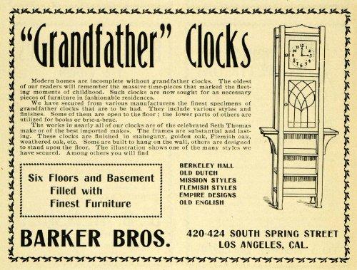 1902 Ad Grandfather Clocks Barker Bros. Los Angeles CA - Original Print Ad