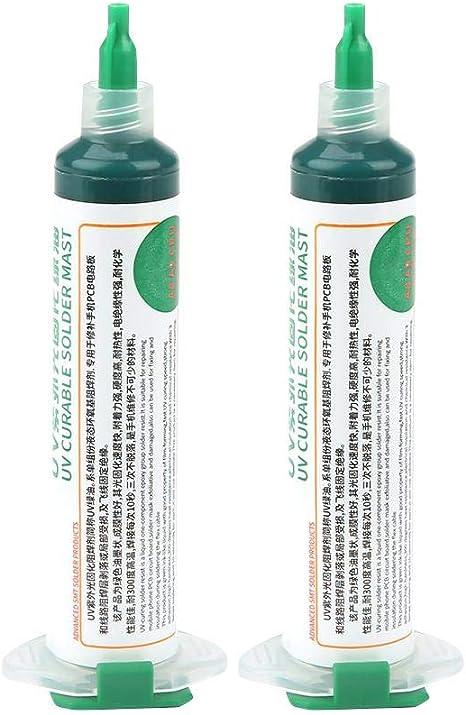 2 piezas 1PaS UV de curado por luz de tinta de m/áscara de soldadura BGA Placa de circuito impreso Tinta de resistencia de soldadura para aislamiento y protecci/ón de comp Tinta de m/áscara de soldadura