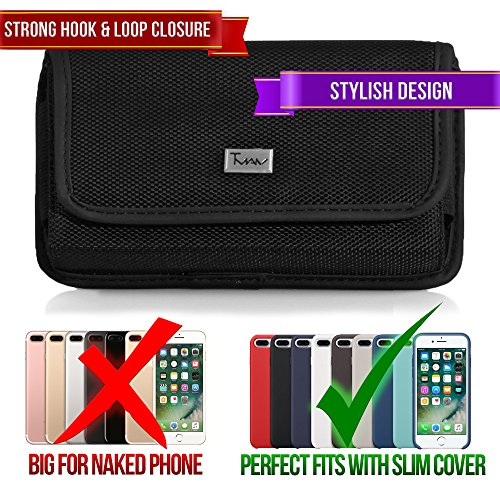 [TMAN Rugged Heavy Duty Nylon Canvas Horizontal Medium Belt Clip Case Pouch Holster for LG VX9900 env envy [PERFECT FITS WITH SNAP CASE ON IT]] (Lg Vx9900 Cover Snap)