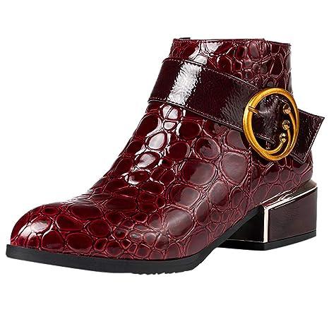Cremallera Lateral Tacones Altos Bota Martin Zapatos con diseño de cocodrilo Botines LILICAT® Botas de