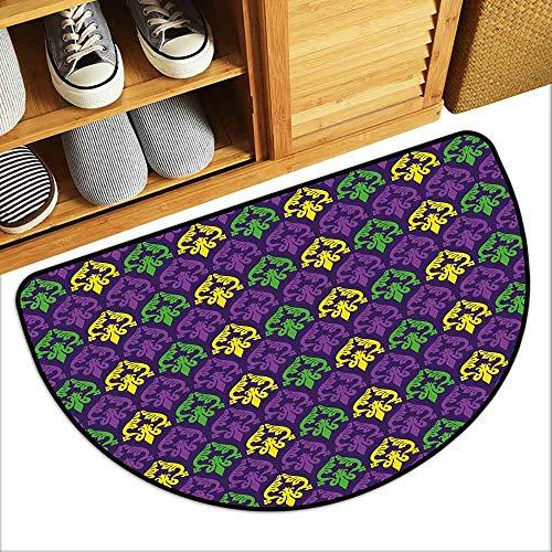G Idle Sky Mardi Gras Fashion Door mat Antique Old Fashioned Motifs in Mardi Gras Holiday Colors Tile Pattern Antifouling W29 x L17 Purple Green Yellow]()