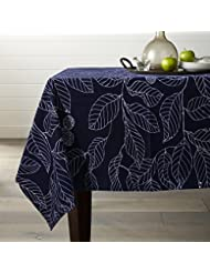 """Lamberia Tablecloth Heavyweight Vintage Burlap Cotton Tablecloths for Rectangle/Oblong/Oval Tables, Seats 12 to 14 People (60""""x120"""", Navy Blue)"""