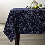 Lamberia 100% Cotton Canvas,Heavy Weight,Nature Leaves Printed Fabric Tablecloth 60-Inch-by-120 Oblong/Rectangle, Navy Blue, Seats 12 to 14 People
