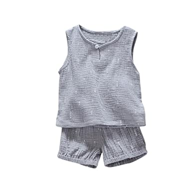 cda9ce20 Amazon.com: CSSD Toddler Kids {Baby Boys} {Solid Color} {Sleeveless  T-Shirt} {Vest Tops+Shorts} Set Outfit Clothes: Clothing