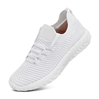 Feetmat Women's Fashion Sneakers Slip on Shoes Lace up Sneakers White 12 M US