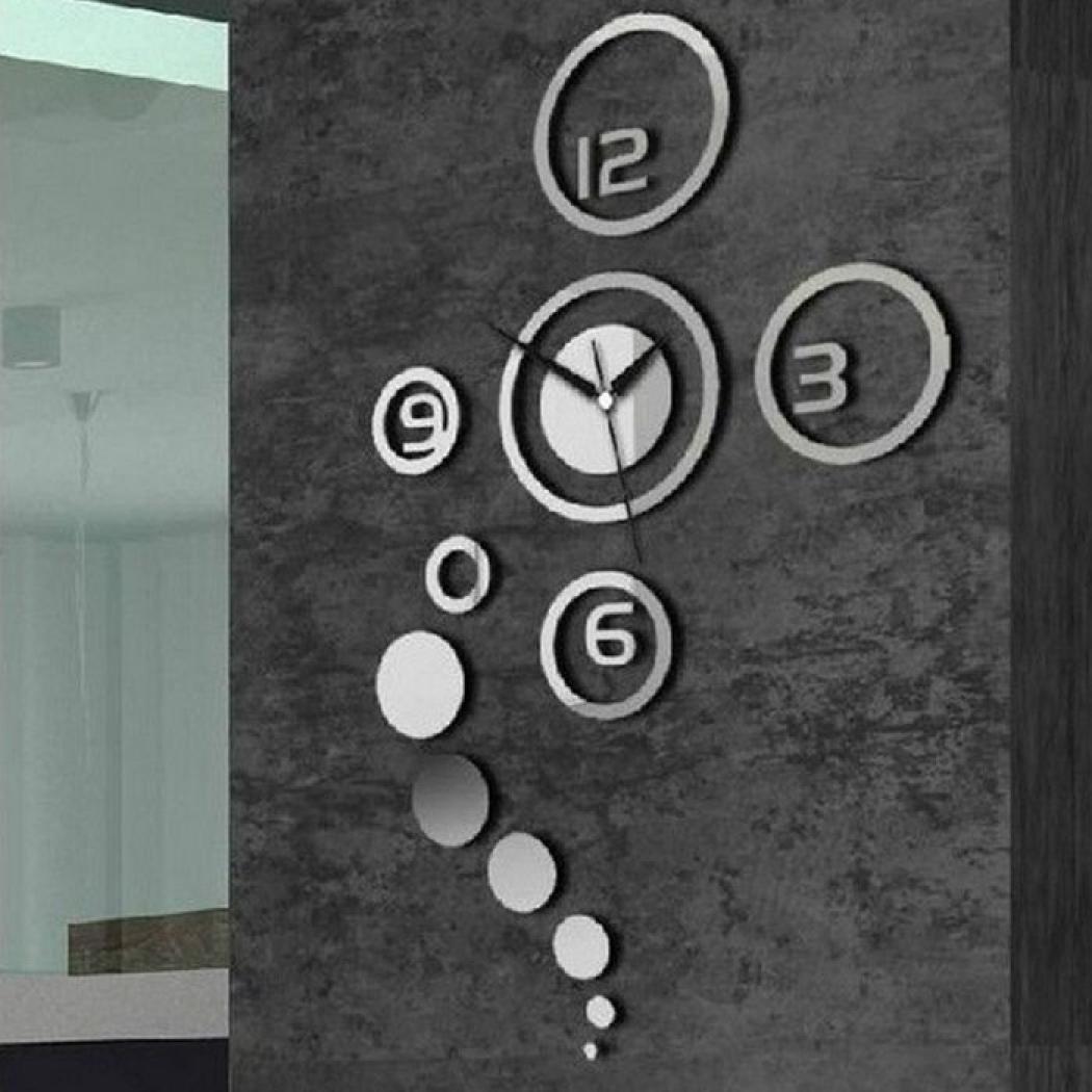 malloom decoracin nueva diy d hogar moderno espejo de cristal sala reloj de pared plata