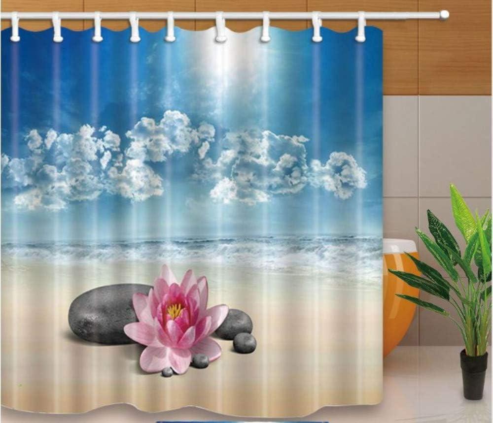 SFQAZW Diseño Cortinas De Ducha Piedras Y Lotus En La Playa Estilo De Serenidad Mamparas De Baño Tela Impermeable Moho A Prueba con Ganchos (W) 200x(H) 180cm: Amazon.es: Hogar