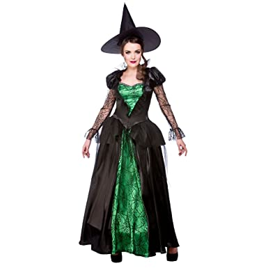 9a70f555f53 (M) Ladies Emerald Witch Queen Halloween Costume for Fancy Dress Womens M