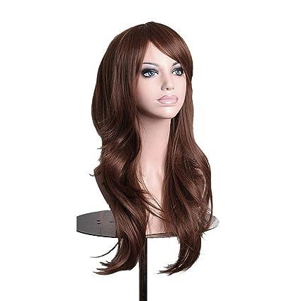 Falamka peluca larga onda para mujeres fiesta pelucas coloridas (marrón)