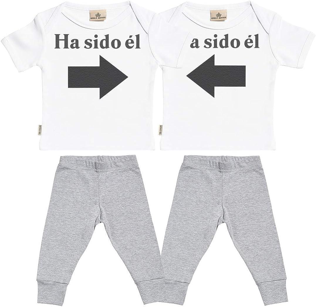 SR - Ha Sido él & Ha Sido él - Conjunto Gemelo - Regalo para bebé - Blanco Camiseta para bebés & Negro Pantalones para bebé - Ropa Conjuntos para bebé