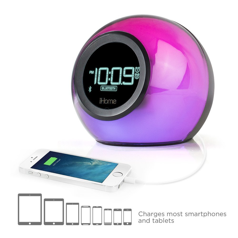 iHome iBT29BC Bluetooth Color Changing Dual Alarm Clock FM Radio with USB Charging and Speakerphone by iHome