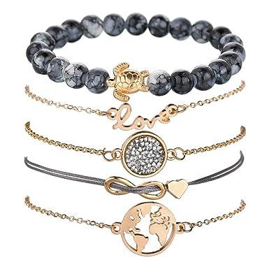 Amazon com: AILUOR Layered Bracelet Set, Fashion Weaving Sea Turtle