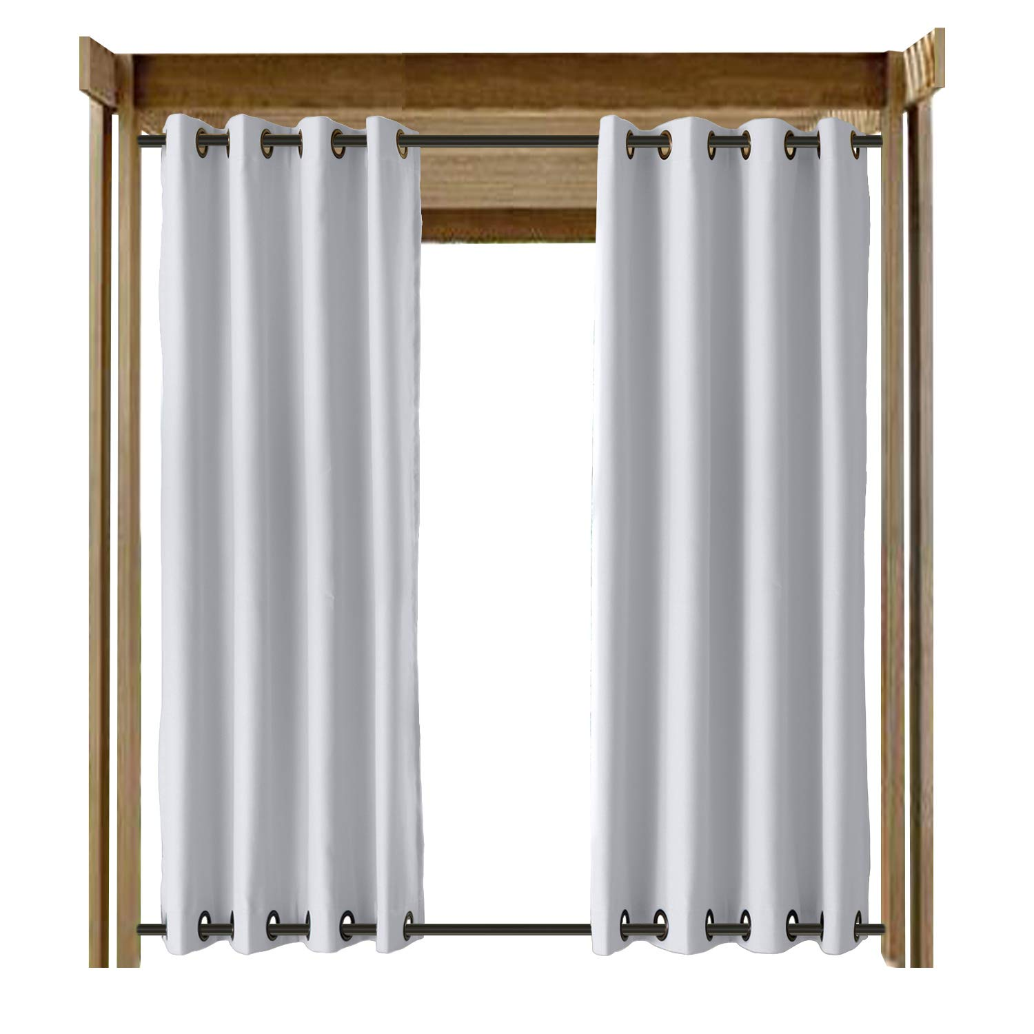CosyPages Summer Outdoor Curtains for Front Porch Pergola Cabana Covered Patio Gazebo Dock Beach Home Noise Reducing Heat Insulated Grommet at Top and Bottom Rose 150'' W x 96'' L (1 Panel) White