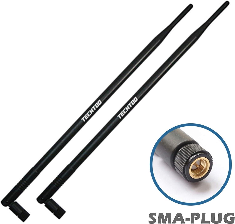 TECHTOO Antena WiFi de 9dBi con conector SMA macho (SMA-Plug) compatible con cámara IP Anran Haloview y otra antena de cámara de seguridad inalámbrica, dispositivo de red inalámbrico de 2,4 GHz