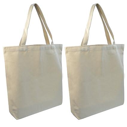 "17b45326c2 Wobe 2 pack Natural Canvas Tote Bag 16 X 16"", White Tote Shopping Bag"