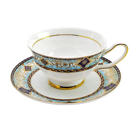 ce20ad818d5 Amazon.com   ACOOME Tea Cup and Saucer Set- 6.8oz Premium Quality Bone China  Hand-made Golden Rim Gemstone Pattern Teacup (Baroque): Cup & Saucer Sets