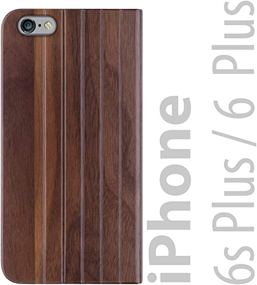 iATO iPhone 6 Plus / 6s Plus Book Type Case - Real Walnut Wood Grain Premium Protective Front and Back Wooden Cover - Unique, Stylish & Classy Folio ...