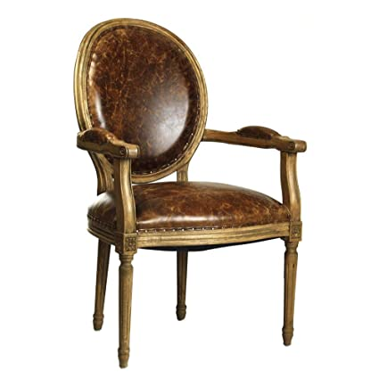 Amazon.com - French Country Louis XVI Oval Back Leather Dining Arm ...