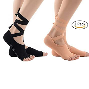 Toeless Yoga Pilates calcetines de agarre antideslizantes para barre/Yoga/ballet/Pilates/Studio cordones antideslizante mujer calcetines talla 35 - 39: ...