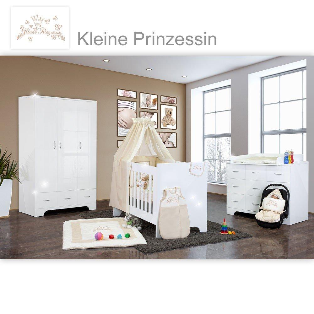 Hochglanz Babyzimmer Memi 21-tlg. mit Textilien Kleine Prinzessin in Beige