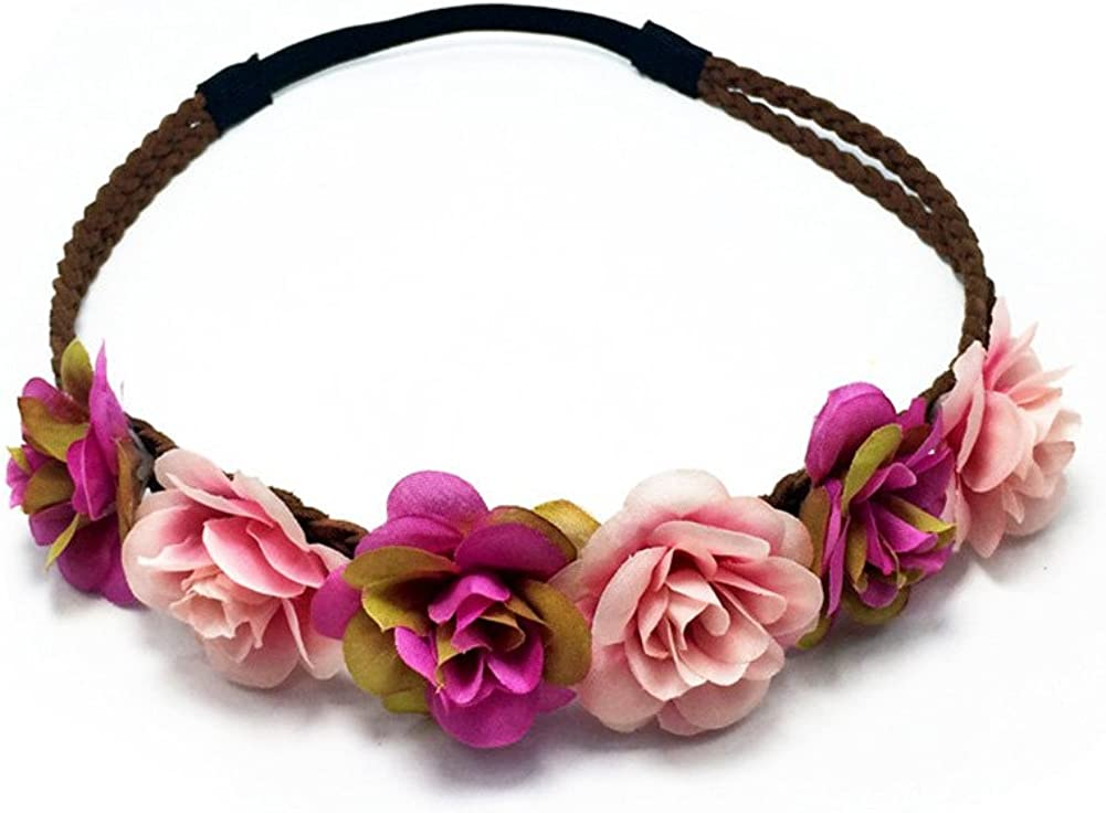 Love Sweety Rose Flower Wreath Headband Floral Crown Garland Halo for Wedding HH14
