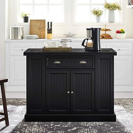 Crosley Furniture Seaside Granite Top Kitchen Island in Black