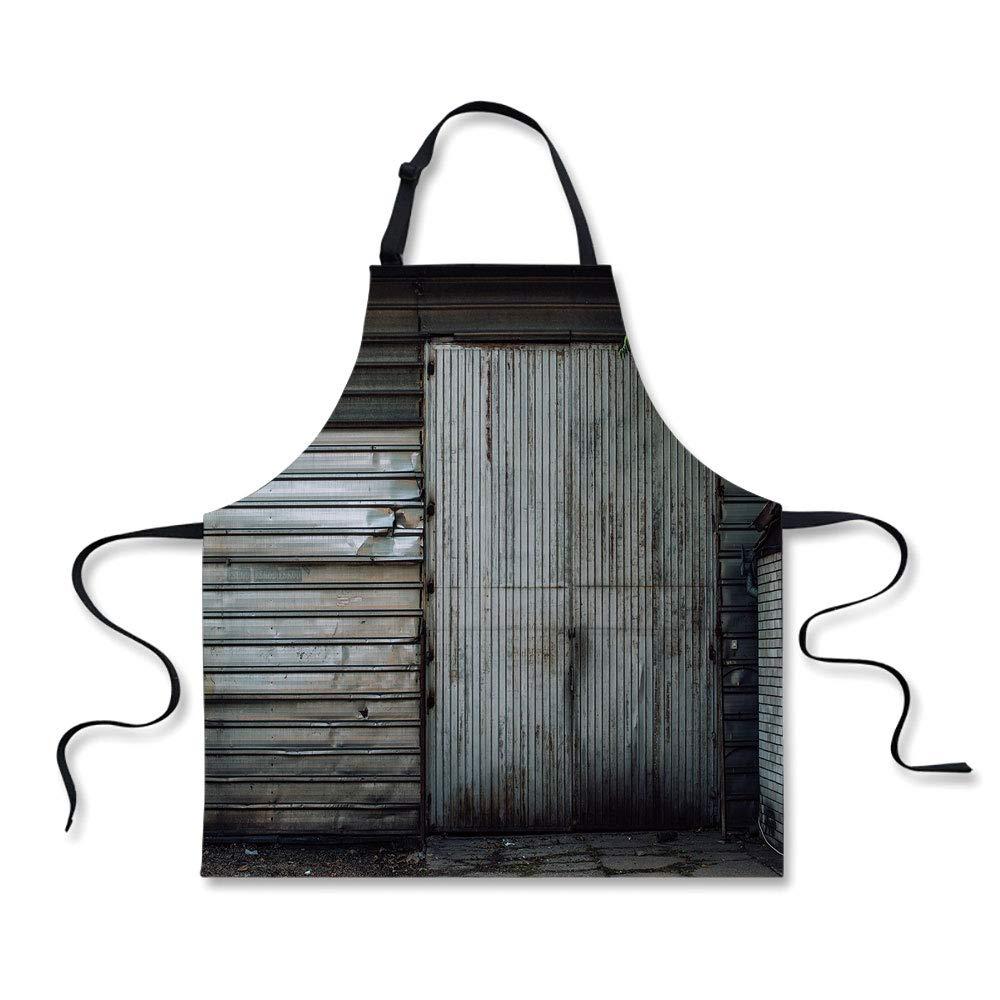 iPrint Cooking Apron,Industrial Decor,Obsolete Zinc Plated Steel Door Padlock Locked Gate Warehouse Print Decorative,Grey Green Brown,3D Print Apron.29.5''x26.3''