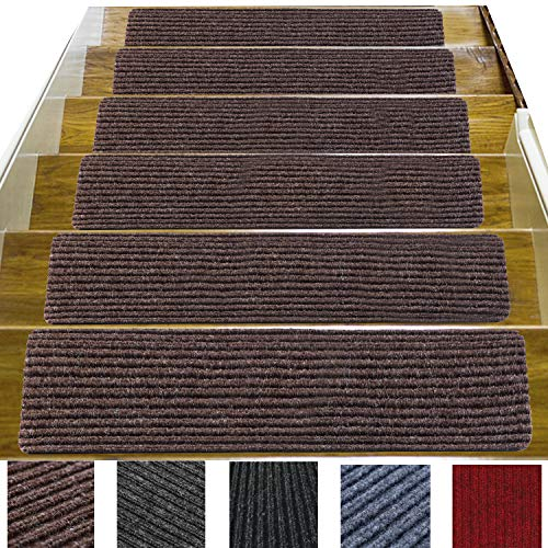 """14 Pack-(8""""x 30""""),Non-Slip Stair Treads Carpet Indoor, Anti Slip Stair Mats, Skid Resistant Rubber Backing for Child Proofing/Pet Safety/Elderly Safety, Brown"""