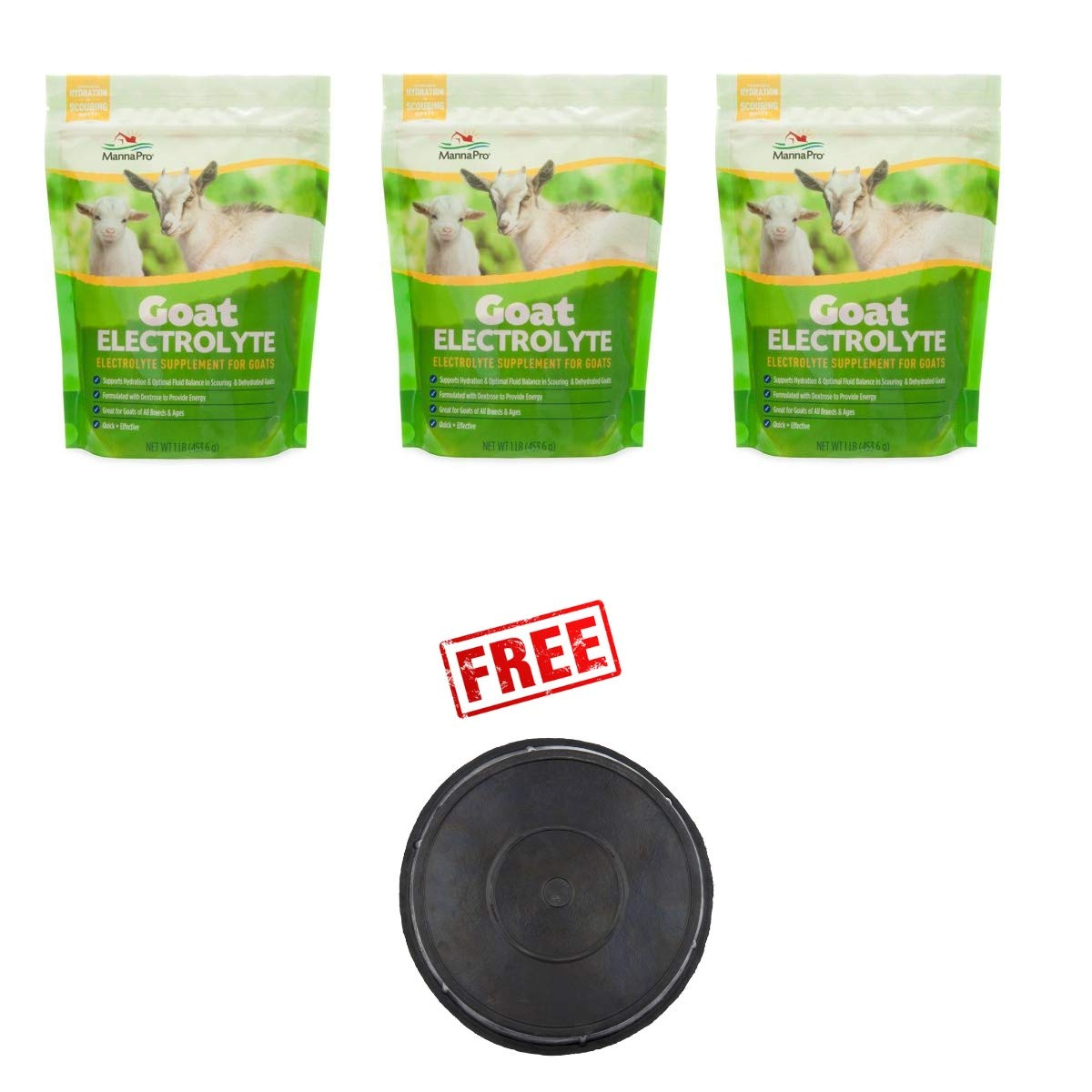 Manna Pro Pack of 3 Goat Electrolyte, 1 Pound, Supplement for Proper Hydration with Free! Buy More, Save More!