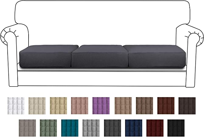 Easy-Going Stretch Cushion Cover Sofa Cushion Furniture Protector Sofa Seat  Sofa slipcover Sofa Cover Soft Flexibility with Elastic Bottom(3-Piece ...