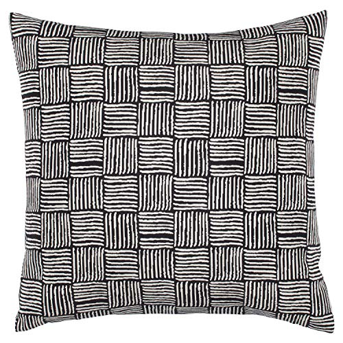 Stone Beam Modern Reversible Cross-Hatch Throw Pillow, 17 x 17 , Black and White