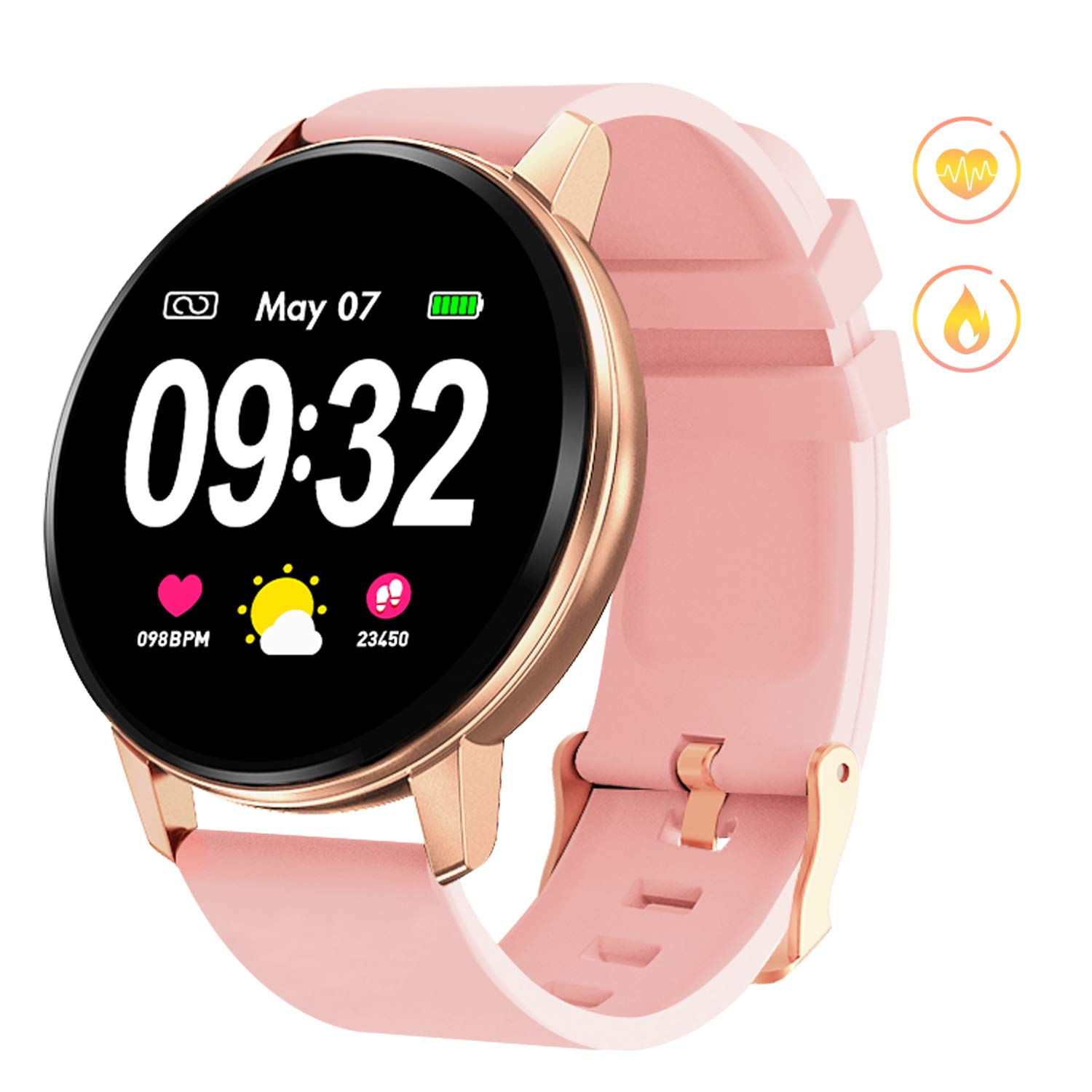GOKOO Smart Watch for Women with Heart Rate Blood Pressure Sleep Monitor Waterproof Remote Camera Music Control Calorie Step Activity Tracker Reminder by GOKOO