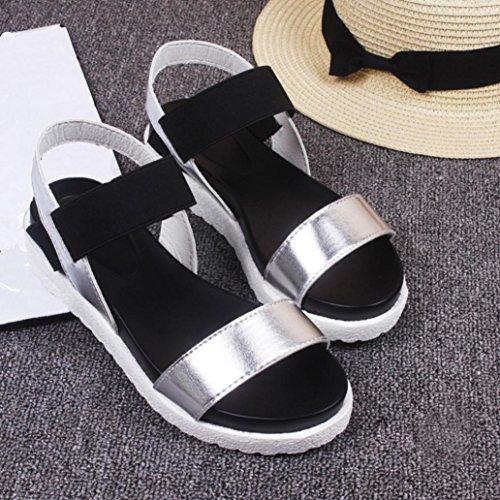 Chaussures Sandales Cuir en Plates Femme élégantes Vovotrade à Mode Argent Sandales la gw0aqF1