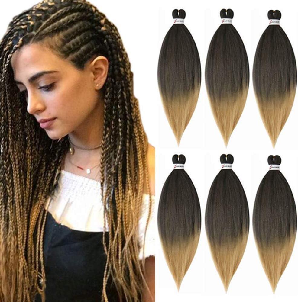 Extensiones de cabello trenzado pre estirado 26 pulgadas 6 paquetes/lote Trenza sin picor Ajuste bajo en agua Fibra sintética Textura Yaki Crochet Ombre Trenzado Extensión del cabello (T4#/27)