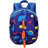 Anti-lost Child Toddler Kids Backpack Cute Cartoon Animal Dinosaur Nursery Kindergarten Preschool Daypack with Long Safety Harnness Strap, Snack Toys Books Zoo Rucksack Travel Zipper Shoulder Bag (Blue)