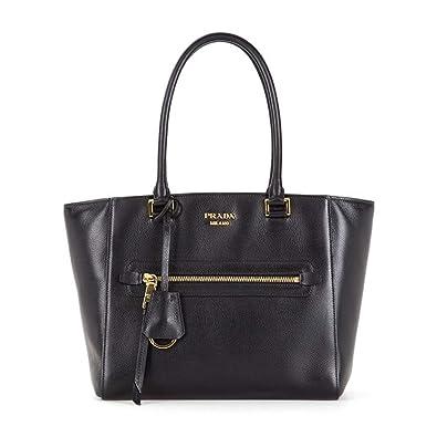 a6f4339519 Prada Twins Pocket Black Medium Glace Calf Leather Tote Shoulder Bag  1BG227: Handbags: Amazon.com