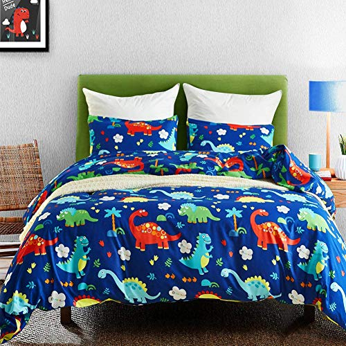 Macohome Boys Bedding Dinosaur Kids Duvet Cover Set Queen Cartoon Comforter Set with 2 Envelope Pillowcases and 1 Duvet Cover (Dinosaur , Queen) ()