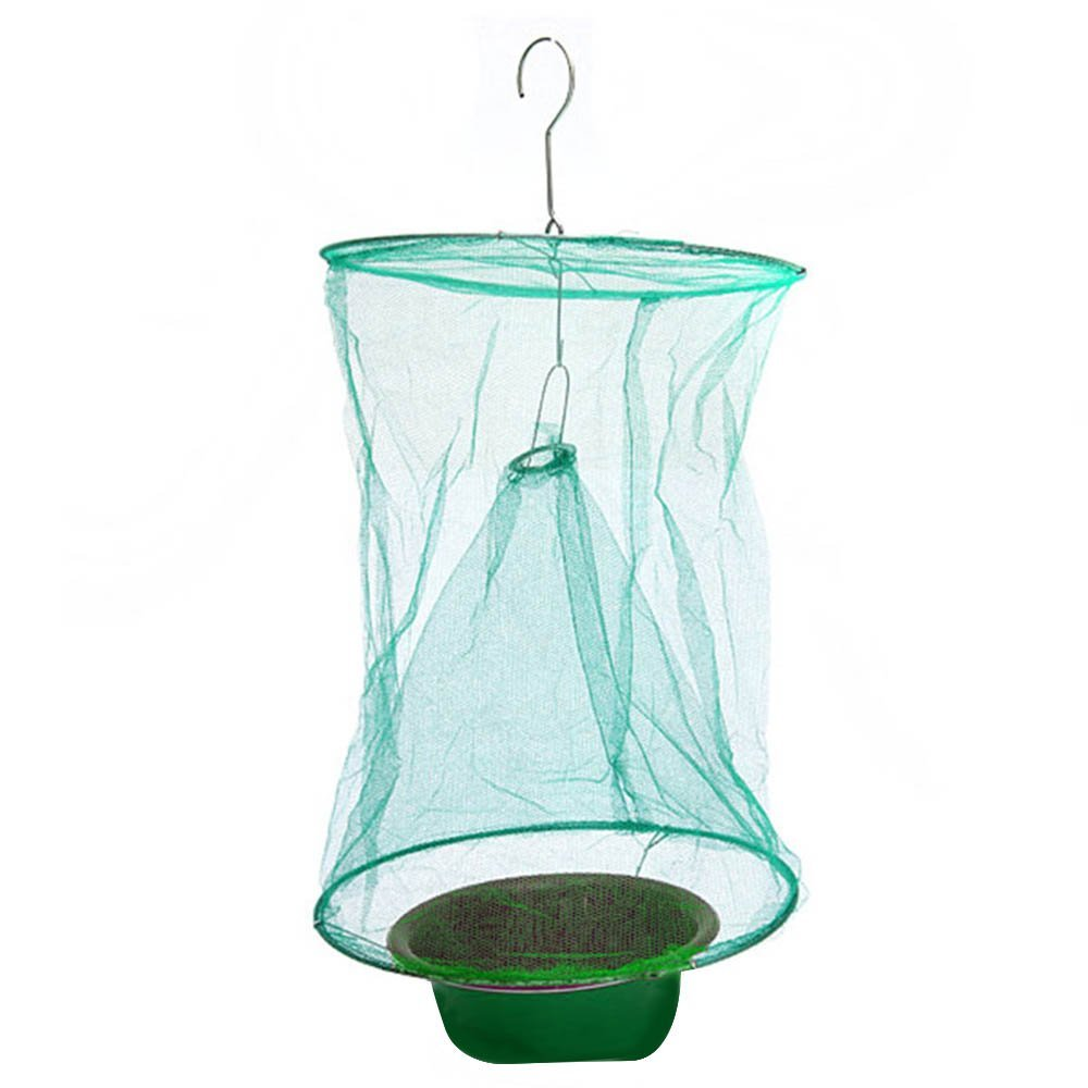 Outdoor Gardening Hanging Folding Reusable Drosophila Fly Insect Trap Net Catcher Killer Cage with Bait Storage Pot Gosear