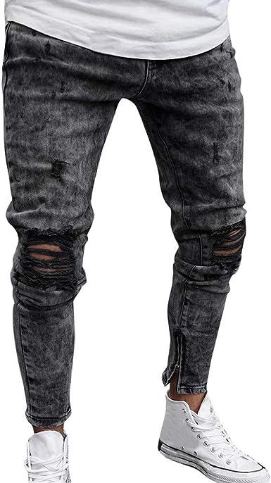Vaqueros Skinny Para Hombre Casuales Elasticos Denim Pantalon Original Pitillo Slim Fit Jeans Moda Pantalones De Mezclilla Vaqueros Ajustados Cremallera Y Agujero Roto Amazon Es Ropa Y Accesorios