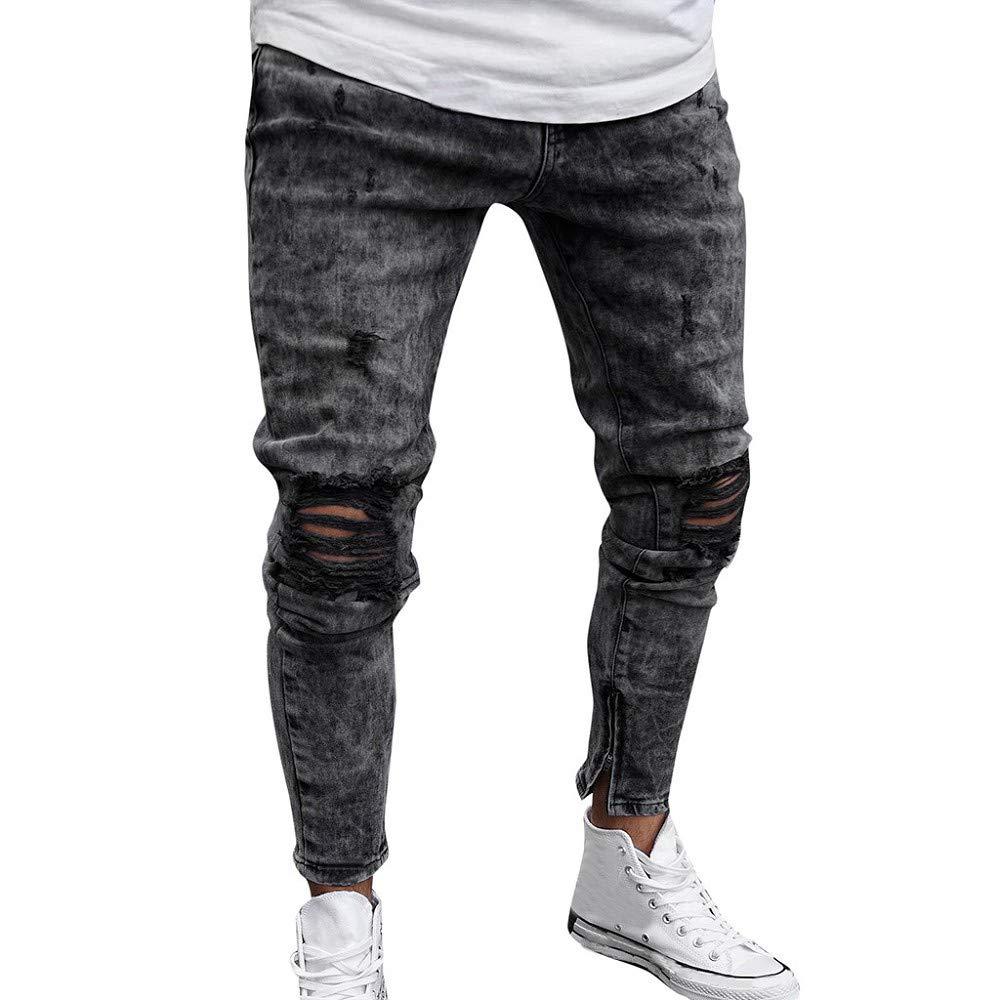 Vaqueros Skinny Para Hombre Casuales Elasticos Denim Pantalon Original Pitillo Slim Fit Jeans Moda Pantalones De Mezclilla Vaqueros Ajustados Cremallera Y Agujero Roto Hombre Vaqueros