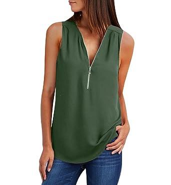 7a8fcae4c0f Debardeur Col V Ample Femme Débardeur Large Top Fluide Zippé Haut Tee Shirt  sans Manche Mousseline