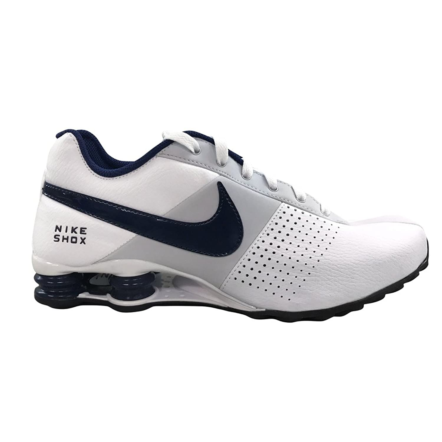 Excellence Cheap Nike Men Shox Deliver Sneakers New White Navy Blue Deliver  Sneakers White Emergency cac184371