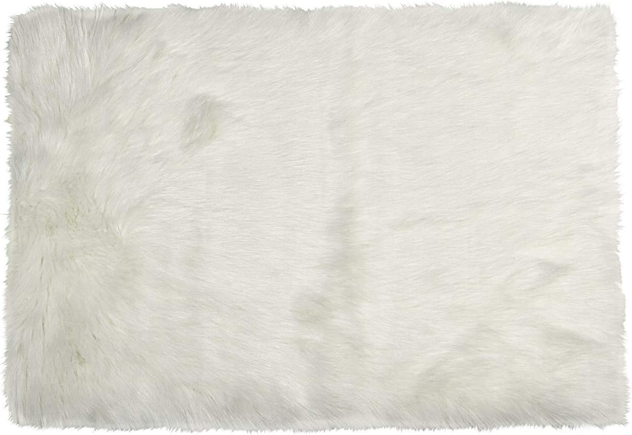 Luxe Thick Lush and Soft Pile 100 Animal-Free Hudson Sheepskin Faux Fur Area Rug, Off-White, 5 ft x 8 ft