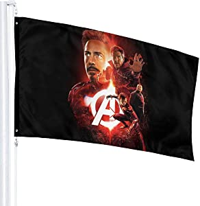 YEECUSTOM Avenger Superhero Icon Man Red Flag 3x5 Feet Flags with Grommets Outdoor Printing Flags Quality 3x5 Feets Decoration Outdoor Stars and Stripes Banner