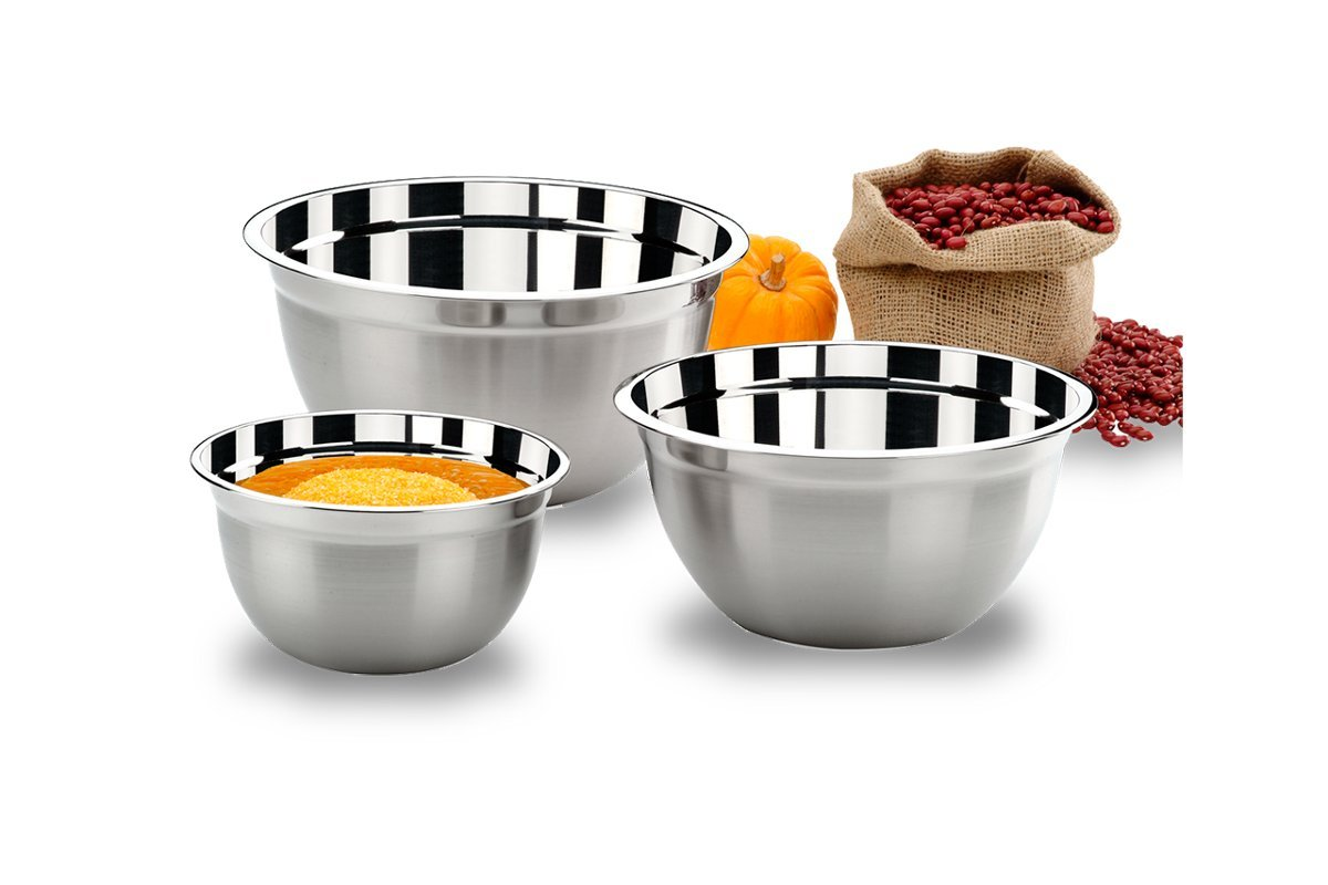 BRINOX 3 Piece Stainless Steel Mixing Bowl Set, Silver