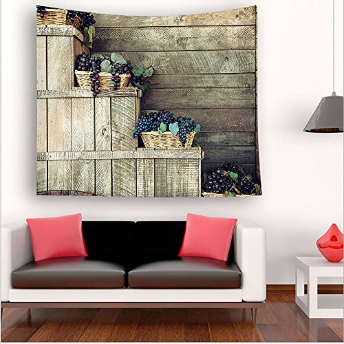 Nalahome-Grapes Various in Wooden Wicker Basket Ivy Viniculture Gourmet Organic Photo Brown Purple tapestry psychedelic wall art tapestry hanging 59W x 59L Inches 59W x 59L Inches